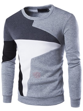 Cotton Blends Patchwork Mens Casual Hoodie