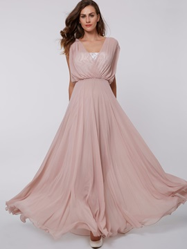 Elegant V Neck Cap Sleeves Lace Evening Dress