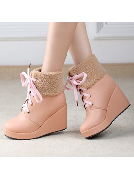 Pu Patchwork Lace Up Wedge Boots