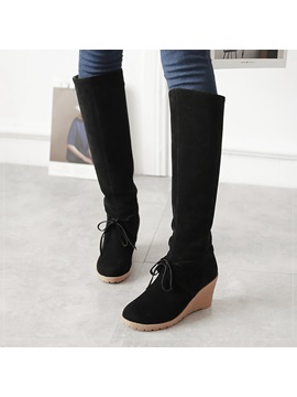 Suede Slip On Knee High Wedge Boots