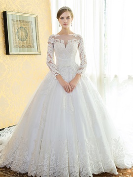 Appliques Long Sleeves A Line Wedding Dress