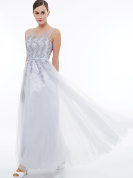 Scoop Neck Appliques Beading Tulle Evening Dress