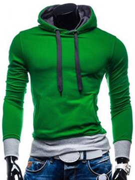 Color Block Simple Cotton Blends Mens Hoodie