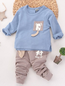 Cute Dog Pocket Patch Pure Two Piece Boys Outfit