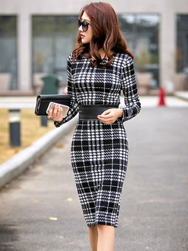 Plaid Round Neck Long Sleeve Bodycon Dresse