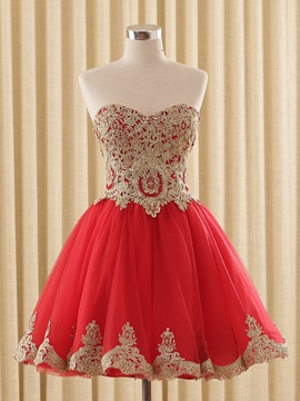 A Line Sweetheart Appliques Lace Up Homecoming Dress