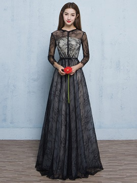 Vintage 3 4 Length Sleeves Button Lace Evening Dress