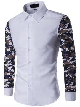 Camouflage Patch Casual Mens Long Sleeve Shirt