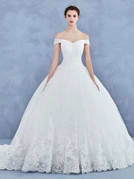 Off The Shoulder Appliques Ball Gown Wedding Dress