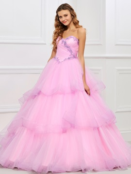 Charming Sweetheart Ball Gown Beading Tiered Floor Length Quinceanera Dress