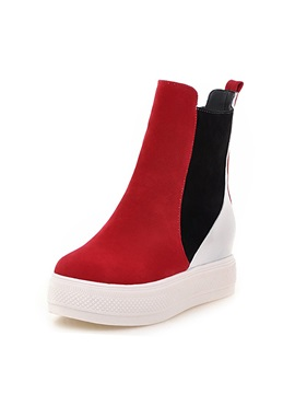 Contrast Color Slip On Short Boots