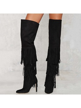 Black Suede Tassels Thigh High Boots