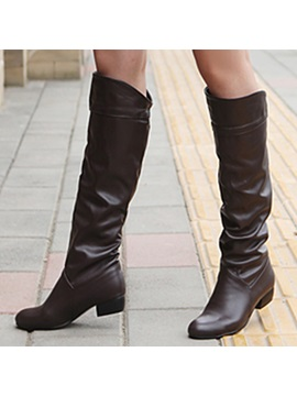 Pu Slip On Knee High Boots