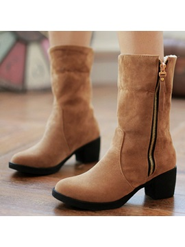 Pu Zippered Chunky Heel Booties