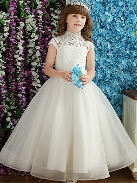 Fancy High Neck Bowknot Lace Flower Girl Dress