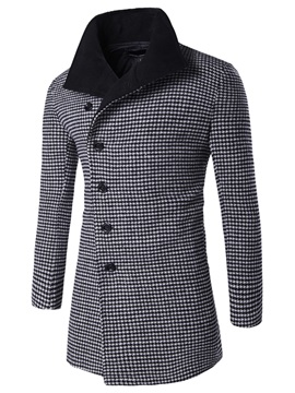 Long Pattern Mini Plaid Thicken Mens Coat