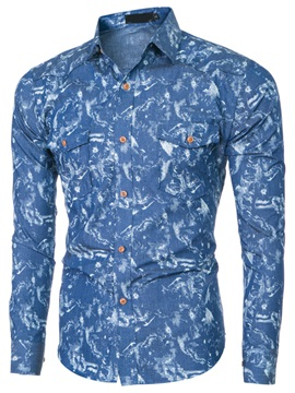 Floral Printed Chest Pocket Mens Causal Shirt