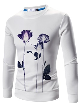 Floral Printed Long Sleeve Mens Cotton Blends Hoodie