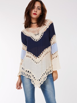 Stylish Color Block Hollow Loose T Shirt