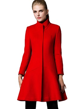 Stylish Solid Color Stand Collar Overcoat