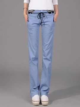 Solid Color Elastic Patchwork Casual Pants