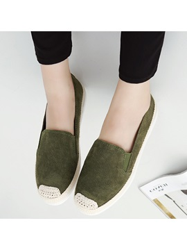 Suede Slip On Thread Flat With Loafers