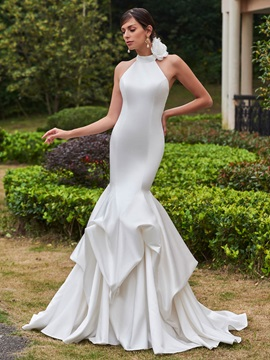 Amazing High Neck Flower Mermaid Wedding Dress