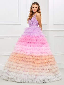 Sweet V Neck Ball Gown Appliques Beading Tiered Quinceanera Dress