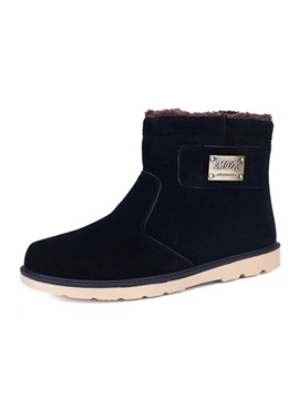 Nubuck Leather Round Toe Slip On Boots