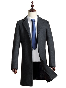 Lapel Long Pattern Mens Casual Trench Coat