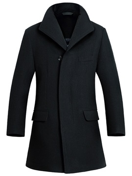 Turn Down Collar Plain Mens Long Pattern Coat