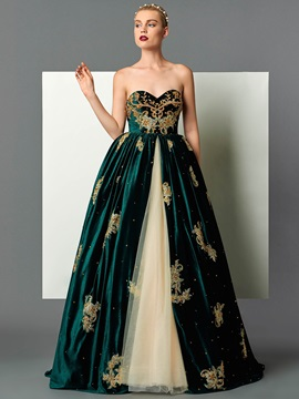 Velvet Sweetheart Ball Gown Appliques Beading Embroidery Floor Length Evening Dress