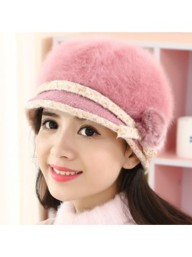 Warm Soft Rabbit Hair Knitted Hat for Women