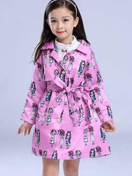 Fashion Lapel Cartoon Printed Belt Girls Outwear