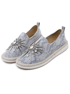 Lace Rhinestone Beads Slip On Flats