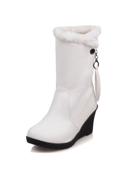 Pu Side Zipper Round Toe Wedge Heel Boots