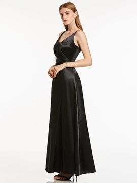 Simple Straps A Line Long Evening Dress