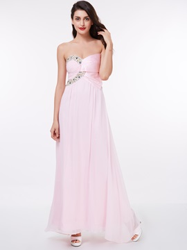A Line Sweetheart Beading Chiffon Long Prom Dress