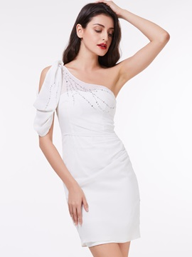 Modern One Shoulder Beading Sheath Cocktail Dress