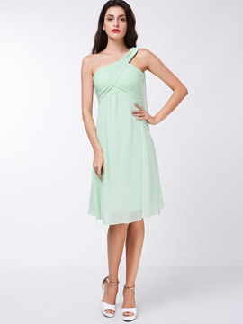 Simple One Shoulder Ruched Knee Length Homecoming Dress