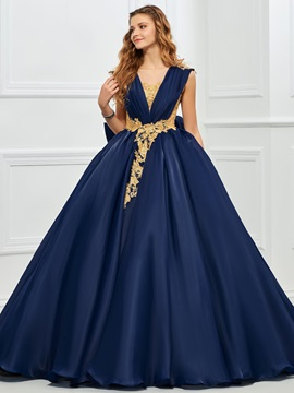 Gorgeous V Neck Ball Gown Appliques Bowknot Button Quinceanera Dress