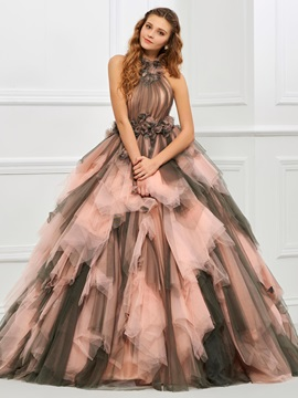 Unique Halter Ball Gown Pleats Floor Length Quinceanera Dress