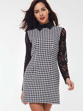 Houndstooth Lapel Patchwork Day Dress