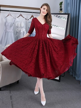 Nice A Line V Neck Half Sleeves Lace Tea Length Prom Dress