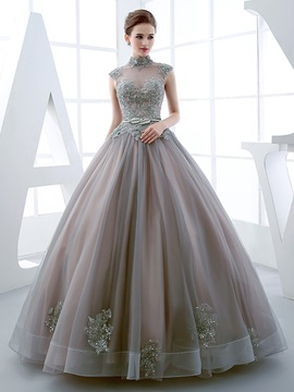Vintage High Neck Ball Gown Cap Sleeves Appliques Beading Floor Length Quinceanera Dress