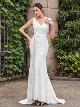 Elegant V Neck Mermaid Lace Wedding Dress