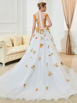 Sexy High Neck Cap Sleeve Appliques Beading Wedding Dress