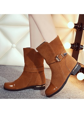 Nubuck Leather Slip On Thread Ankle Boots