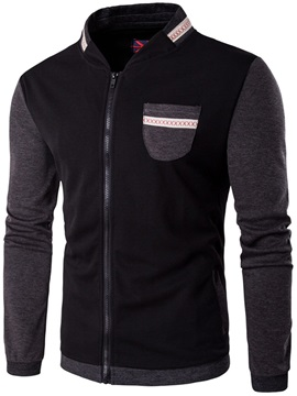 Chest Pocket Color Block Mens Casual Jacket