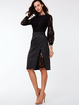Black Lace Dress Placketing Skirt 2 Piece Sets